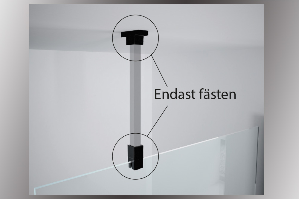 Takmonterat takfäste för duschvägg