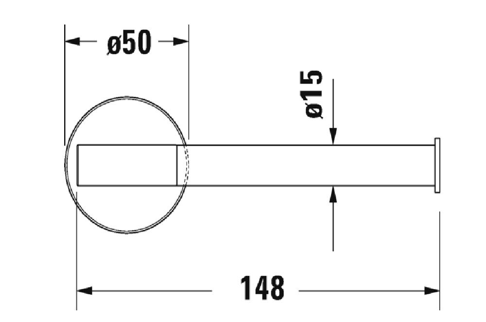 Duravit toalettpappershållare Starck T ritning